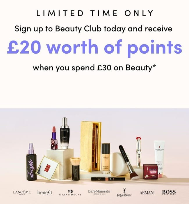 Debenhams Brand New Free Beauty Club + £20 Points On £30 Spend + Free NDD!