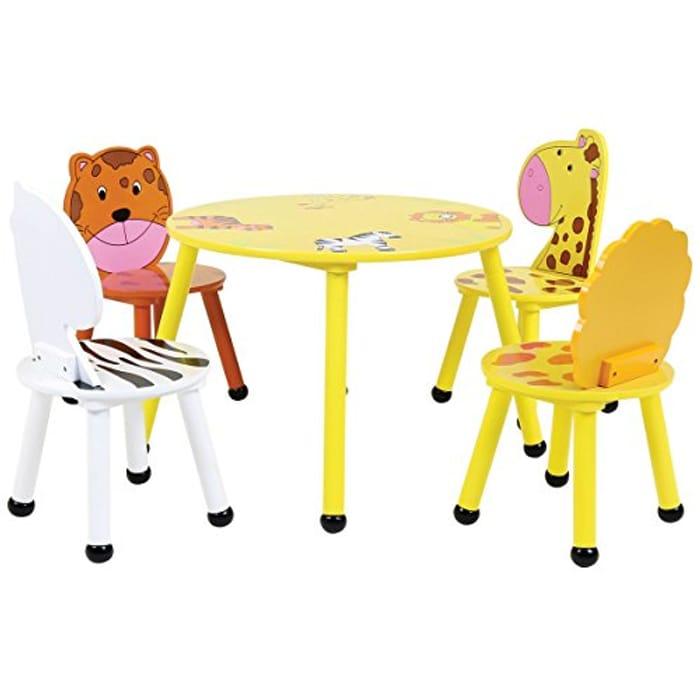 Charles Bentley Wood Safari Table & Chairs 4 Chairs Set Childrens Furniture