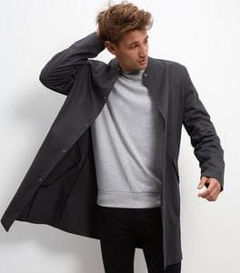 Grey Cotton Longline Bomber Jacket