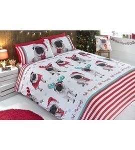 Christmas Pugs Duvet Set, single £4.99, double £5.99, king size £7.99
