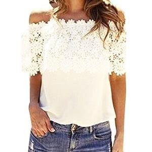 Dream Garden Fashion Women Tops Blouse Lace Crochet Chiffon