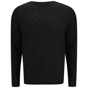 Mens Black Cable Knit Jumper