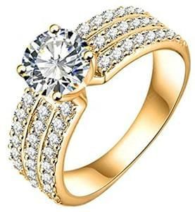 AMDXD Jewelry Gold Plated Engagement Rings Big Round CZ with 3 Rows Crystal