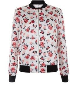 Teens White Rose Print Bomber Jacket