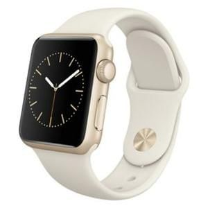 Apple Watch Sport 38mm Gold Case & Antique White Band.