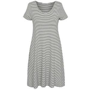 Striped Jersey Cold Shoulder Dress