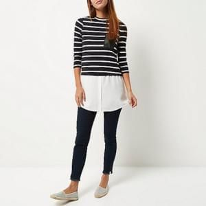 River Island Navy Stripe Top Discount