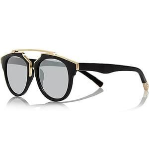 Black round brow-bar mirrored sunglasses