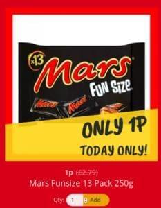 Multipack of fun size Mars Bars just 1p!