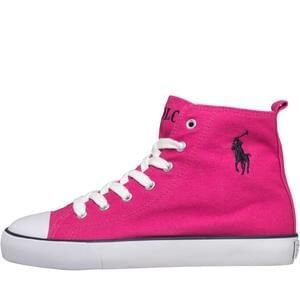 Ralph Lauren Girls Bal Harbour Hi Top Trainers Fuchsia/Navy