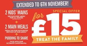 2 Main meals 2 Kids Meals and a candy mania pudding to share £15.00 Hungry Horse