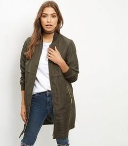 Cheap Women's Khaki Longline Bomber Jacket £16.99 Delivered