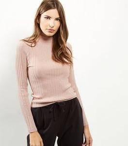 Pink metallic ribbed fitted funnel neck jumper... now only £10!