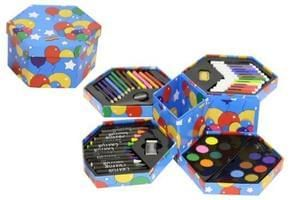 Bargain with Free Delivery! Childrens 52 Pcs Craft Art Artists Set Hexagonal Box