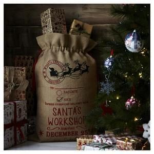 Hessian Santa's Workshop Christmas Sack @ Tesco