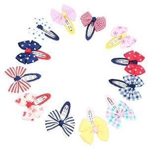 Pack of 12 Mixed Bowtie Kids Child Hair Snap Clips plus free del