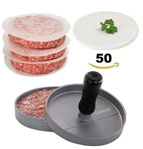 DIY Mold for Burger Maker and Barbecue Press - 50 FREE Burger Papers (Silver)