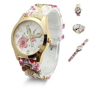 Estone Women Dress Watch Printed Flower Causal Quartz Wristwatches (Wine Red)