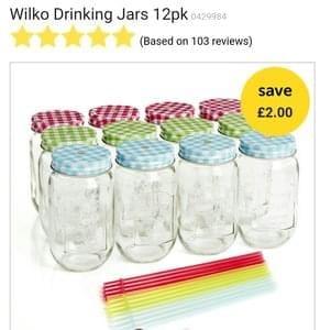 Wilko Drinking Jars 12pk