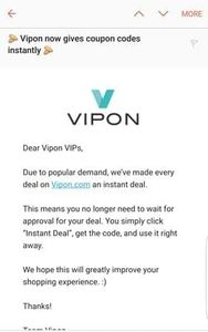Every deal on Vipon is an instant deal
