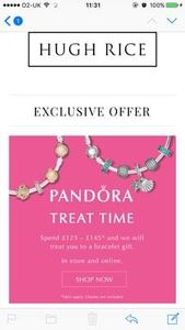 Spend £125 and get a free Pandora bracelet worth £55