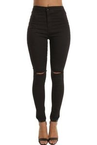 High Waisted Ripped Knee Skinny Jeans White | Black | Blue | Mint | Yellow
