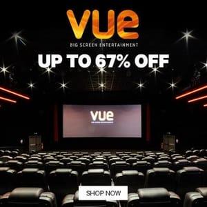 Three Cinema Tickets at Vue for £4.32 Each