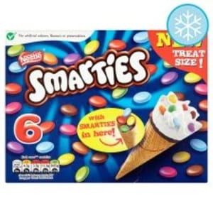 Tesco - Nestle Smarties Ice Cream Cone 6 X 70Ml