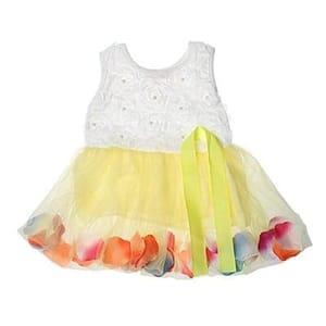 Ruffled Tulle Girls Dress Yellow Size 4-5 at Amazon