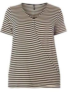 Black Striped Wrap Top ( SIZE 14 /SIZE 18 LEFT)