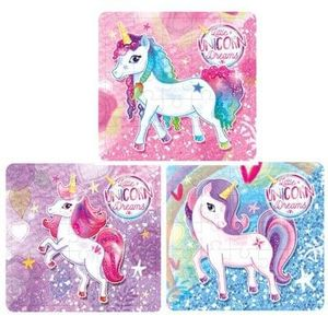 25 Piece Unicorn Jigsaw Puzzle 13cm x 12cm 3 Assorted Designs Pack of 6