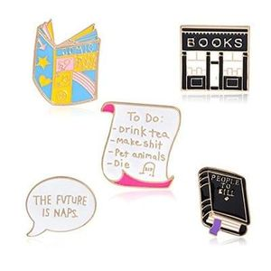 Juanya Cartoon Metal pins - set of 5 - FREE DELIVERY