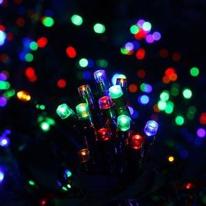 100 Solar-Powered Multi-Coloured LED String Lights Save £9 Free C+C