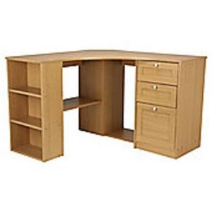 Fraser oak effect corner desk with storage save 60 39 at tesco - Tesco office desk ...