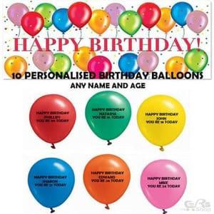 10 X Personalised Birthday Balloons