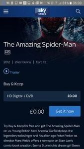 Sky Free Amazing Spiderman Dvd