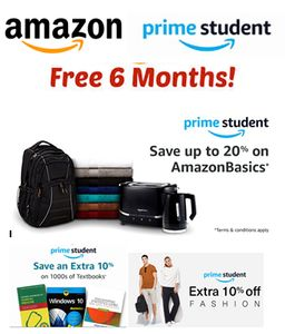 Amazon Prime Student - 6 Months FREE Then 50% off a Year