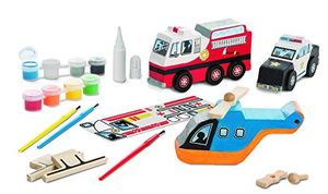 Melissa & Doug Decorate-Your-Own Wooden Rescue Vehicles Craft Kit