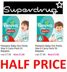 1/2 Price Pampers at SUPERDRUG