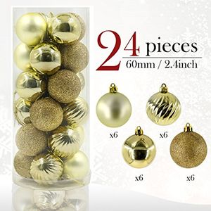 24 Gold Christmas Tree Baubles (Prime Delivery)