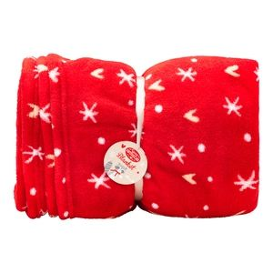 Superdrug Sweet Snuggles Heart and Star Blanket Xmas Red Free C&C