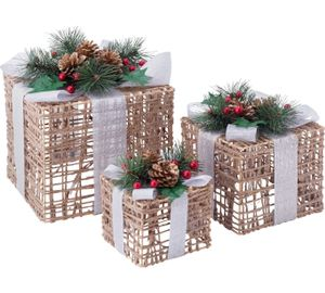 set of 3 christmas light up wicker boxes
