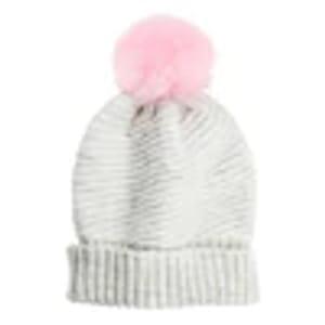 Superdrug Sweet Snuggles Baby Pink Pom Pom White Beanie Hat