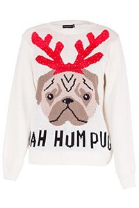AMAZON - Womens Christmas Jumper Bah Hum Pug Dog Pullover Sweater & Free Hat
