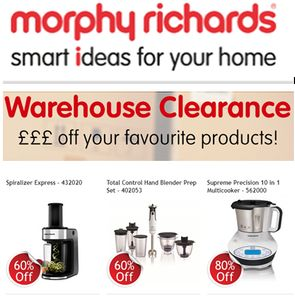 Morphy Richards Warehouse Clearance! Free Delivery + Extra 8%