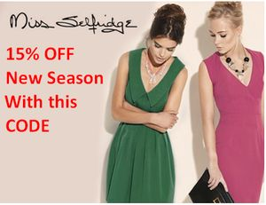 15% off NEW SEASON FASHION at MISS SELFRIDGE with CODE