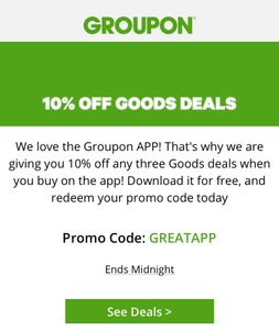 10% off 3 Groupon Goods Deals on the App until Midnight 24th Jan