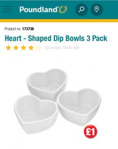 Pack of 3 Heart Shaped Dip Bowls Only £1