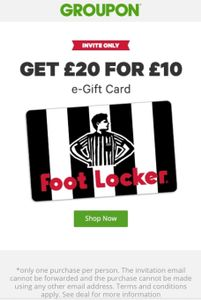 £10 for £20 to Spend on Foot Locker via Groupon