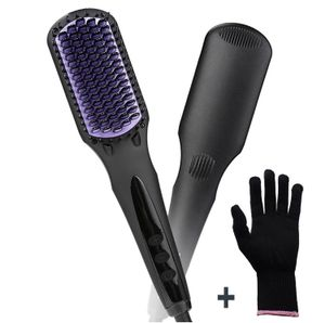 Hair Straightening Brush + Heat Resistant Glove